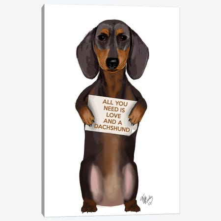 Dachshund Canvas Print #FNK118} by Fab Funky Canvas Art