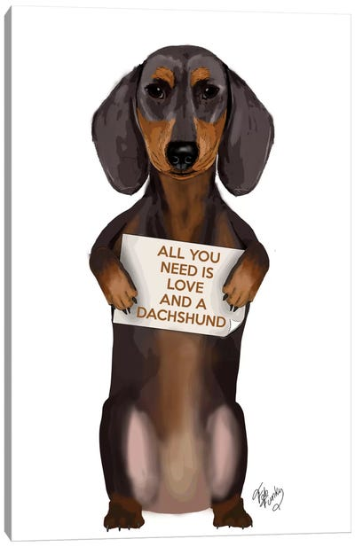 All You Need Is Love Series:  Dachshund Canvas Art Print
