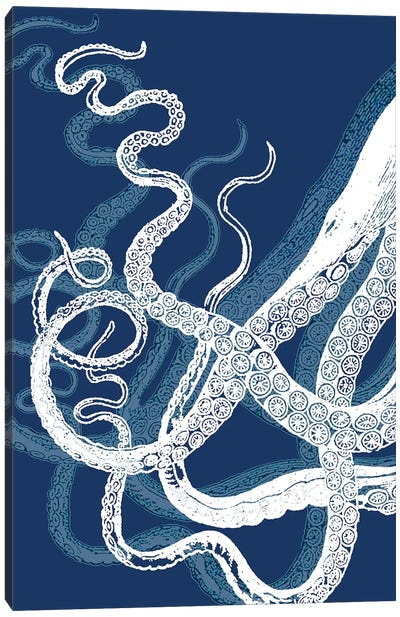 Octopus Tentacles, Blue & White Canvas Art Print