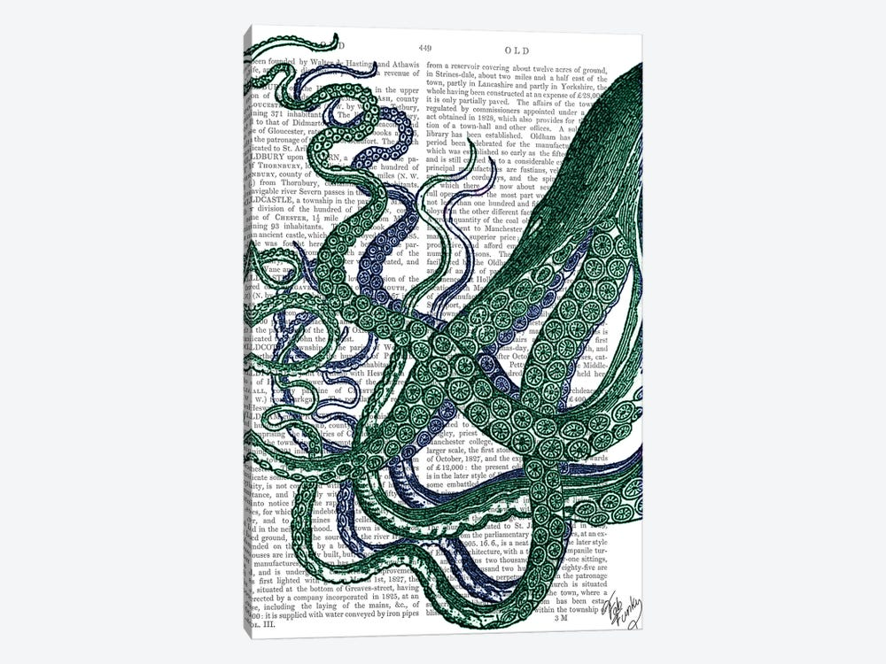 Octopus Tentacles, Green & Blue by Fab Funky 1-piece Canvas Wall Art