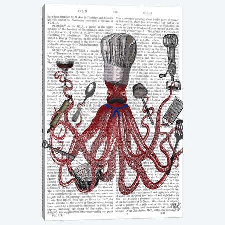 Octopus, Fabulous French Chef Canvas Print #FNK1197} by Fab Funky Canvas Art