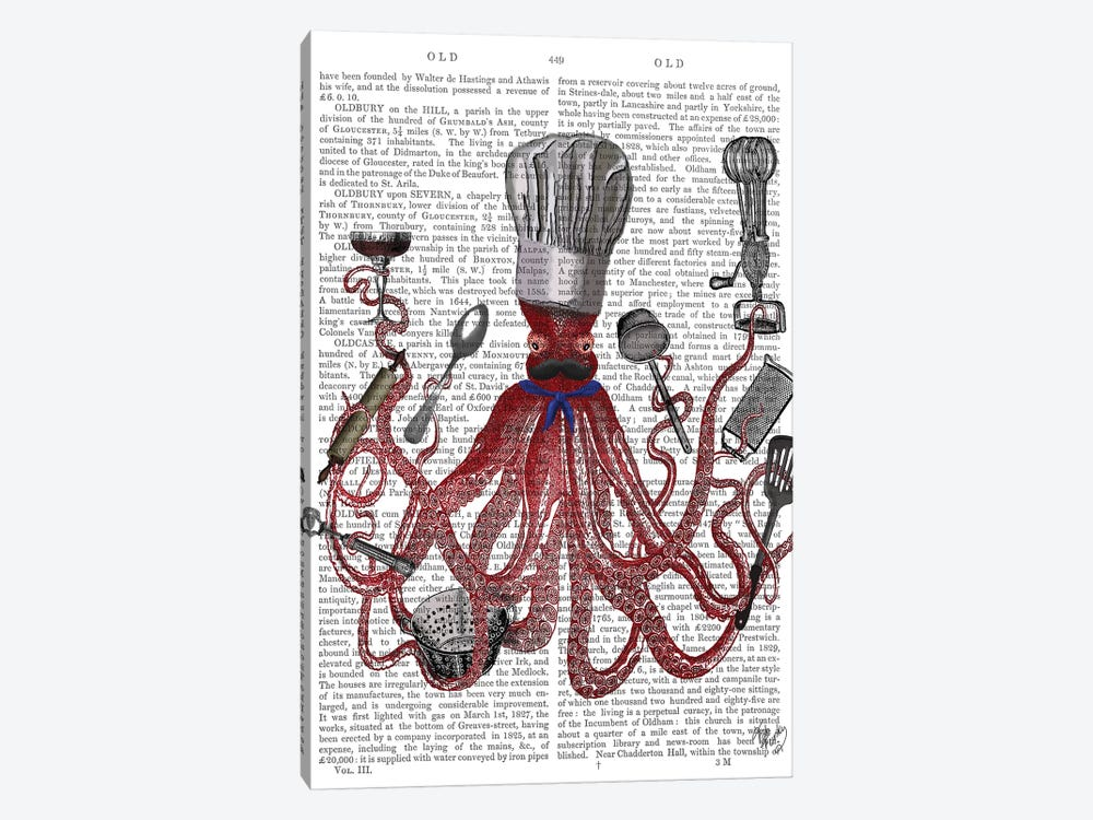 Octopus, Fabulous French Chef by Fab Funky 1-piece Canvas Wall Art