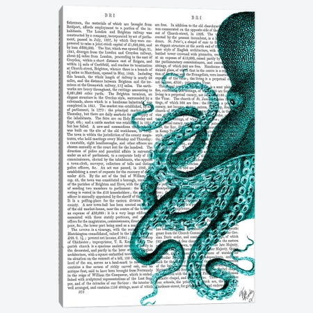 Octopus, Green Half Canvas Print #FNK1198} by Fab Funky Art Print
