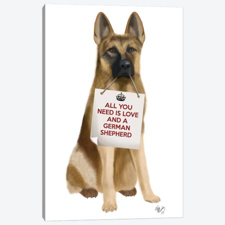 German Shepherd Canvas Print #FNK119} by Fab Funky Canvas Wall Art