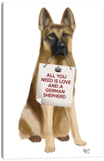All You Need Is Love Series:  German Shepherd Canvas Print #FNK119