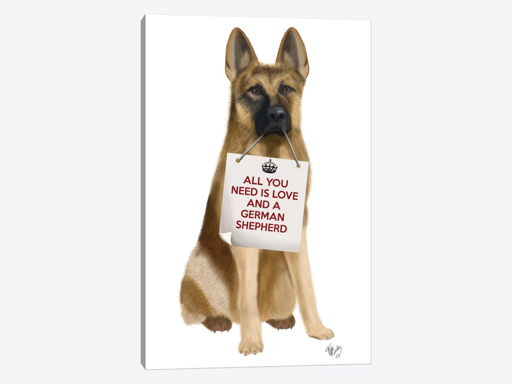 German Shepherd by Fab Funky 1-piece Canvas Print
