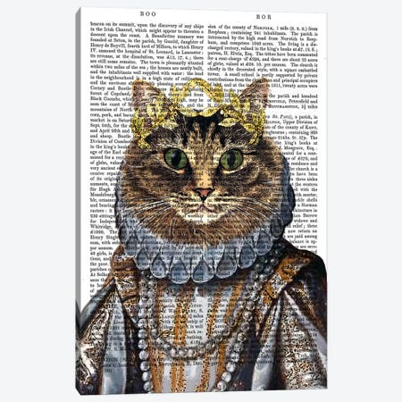 Cat Queen Canvas Print #FNK11} by Fab Funky Canvas Artwork