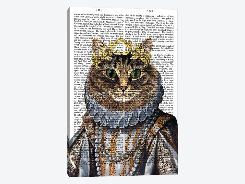 Cat Queen by Fab Funky 1-piece Canvas Artwork