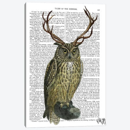 Owl With Antlers Canvas Print #FNK1203} by Fab Funky Art Print