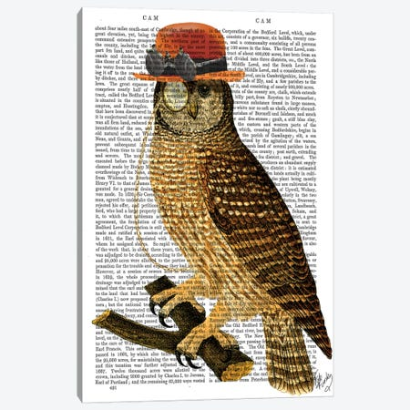 Owl With Steampunk Style Bowler Hat Canvas Print #FNK1204} by Fab Funky Canvas Art