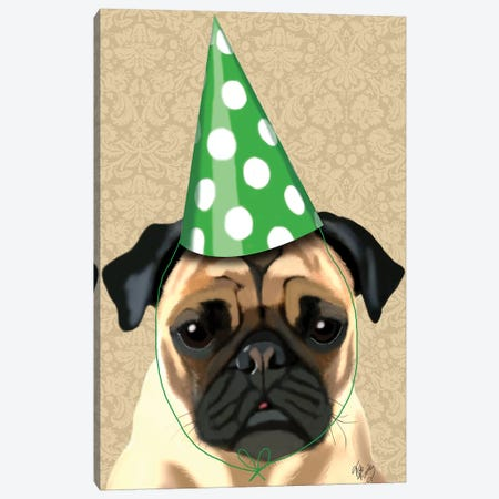 Party Pug Canvas Print #FNK1206} by Fab Funky Canvas Wall Art