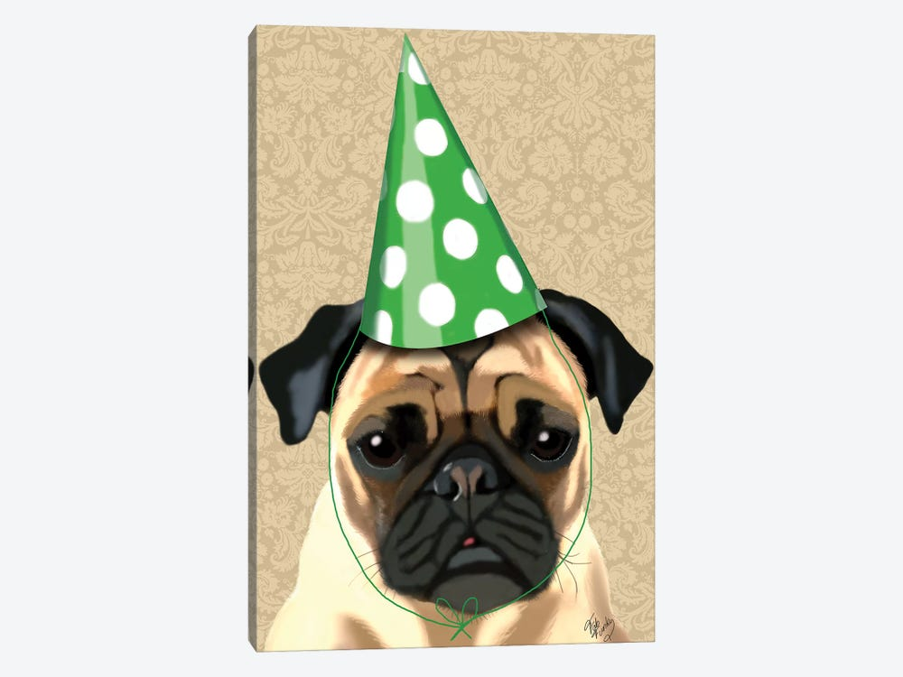 Party Pug by Fab Funky 1-piece Canvas Wall Art