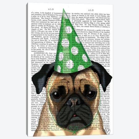 Party Pug, Print BG Canvas Print #FNK1207} by Fab Funky Canvas Wall Art