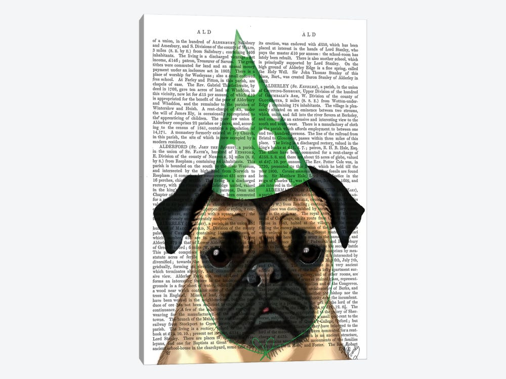 Party Pug, Print BG by Fab Funky 1-piece Art Print
