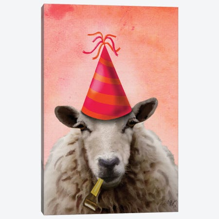 Party Sheep Canvas Print #FNK1208} by Fab Funky Art Print