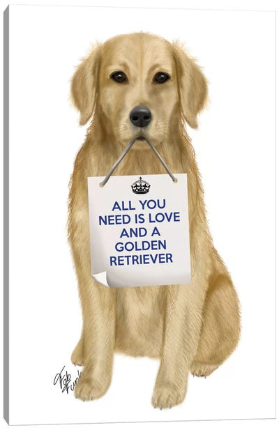 All You Need Is Love Series:  Golden Retriever Canvas Art Print