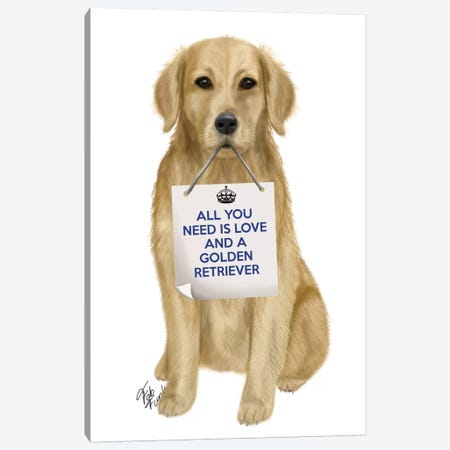 Golden Retriever Canvas Print #FNK120} by Fab Funky Canvas Print