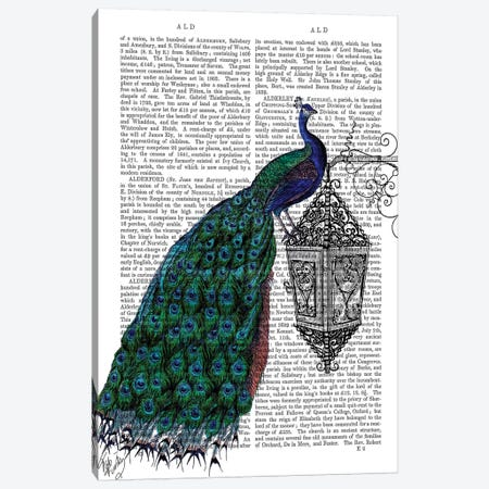 Peacock On Lamp 3-Piece Canvas #FNK1210} by Fab Funky Canvas Artwork