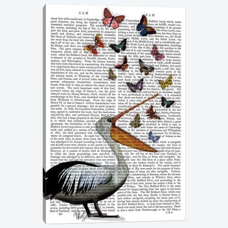 Pelican & Butterflies Canvas Print #FNK1211} by Fab Funky Canvas Art