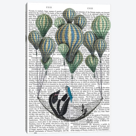 Penguin In Hammock Balloon Canvas Print #FNK1212} by Fab Funky Canvas Wall Art