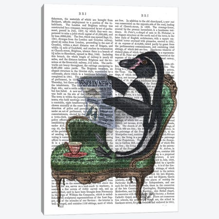 Penguin Reading Newspaper Canvas Print #FNK1213} by Fab Funky Canvas Wall Art
