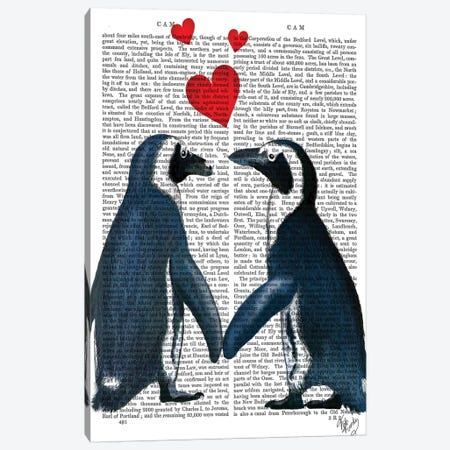 Penguins With Love Hearts 3-Piece Canvas #FNK1214} by Fab Funky Canvas Print