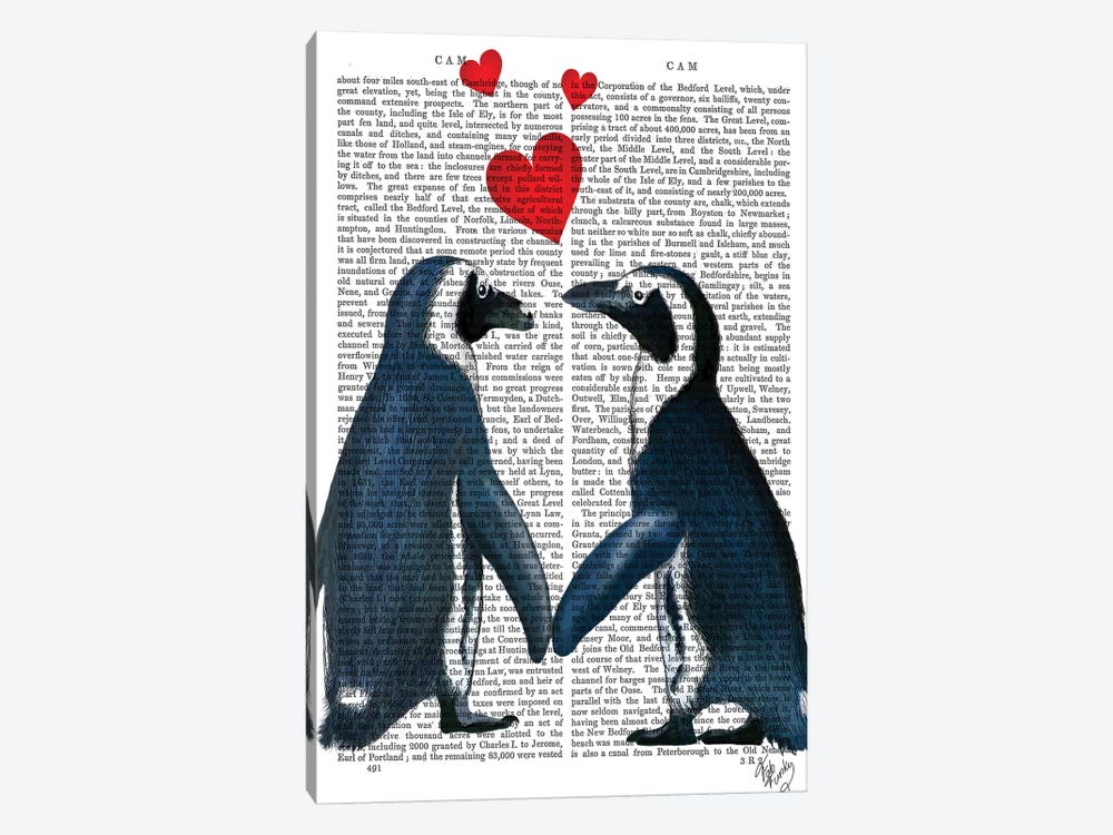 Penguins With Love Hearts by Fab Funky 1-piece Canvas Art Print