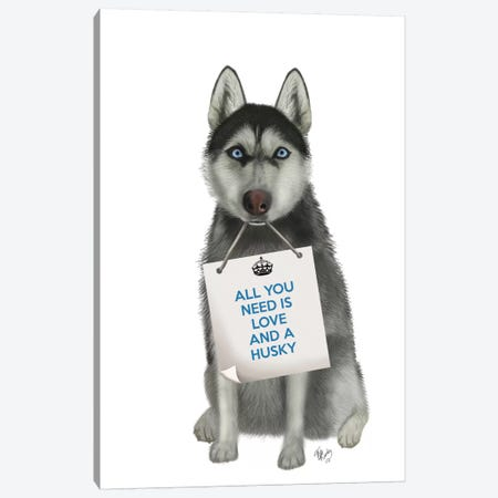 Husky Canvas Print #FNK121} by Fab Funky Canvas Art Print