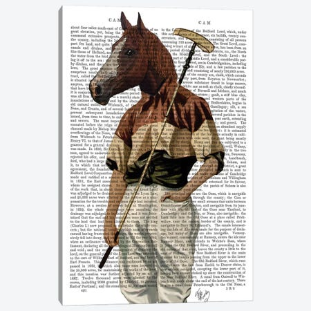 Polo Horse, Print BG Canvas Print #FNK1224} by Fab Funky Canvas Art