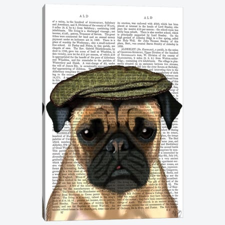 Pug In Flat Cap Canvas Print #FNK1227} by Fab Funky Canvas Art