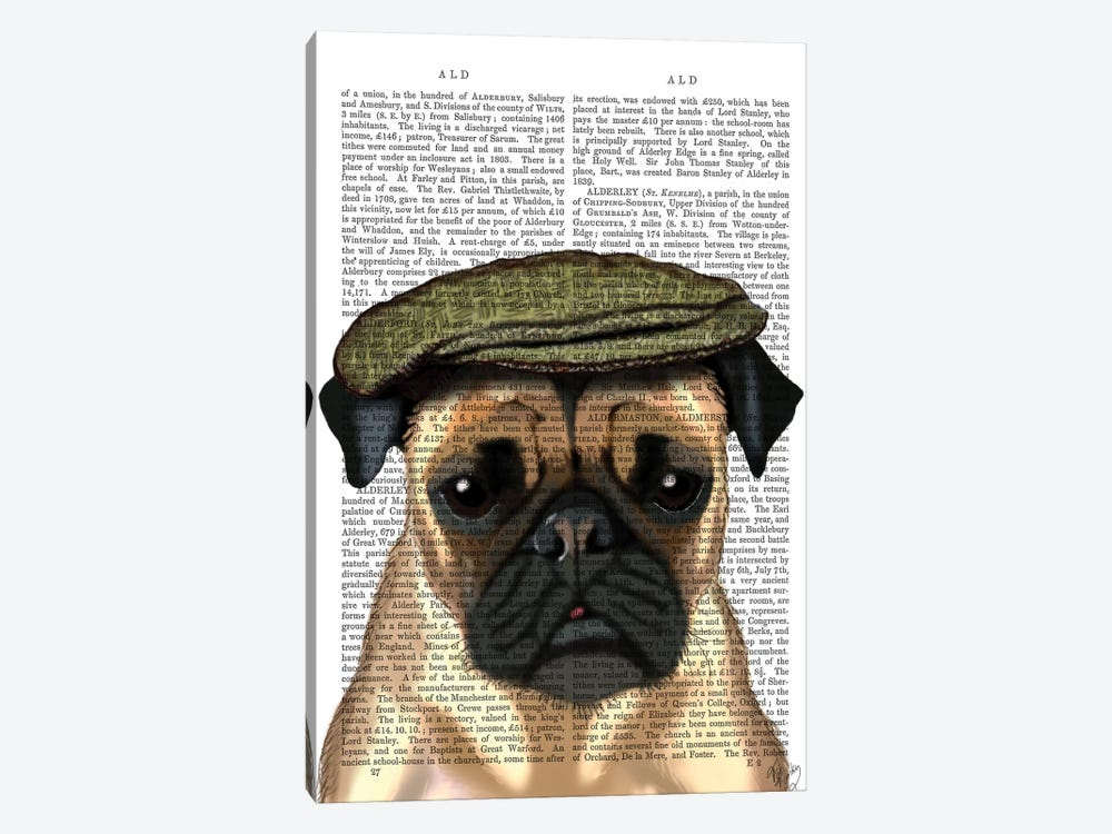 Pug In Flat Cap by Fab Funky 1-piece Canvas Print