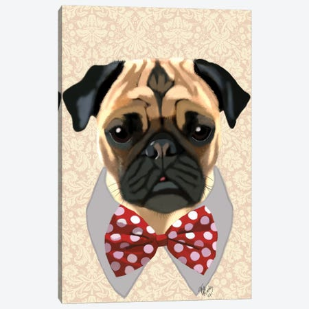 Pug With Red & White Spotty Bow Tie Canvas Print #FNK1228} by Fab Funky Canvas Print