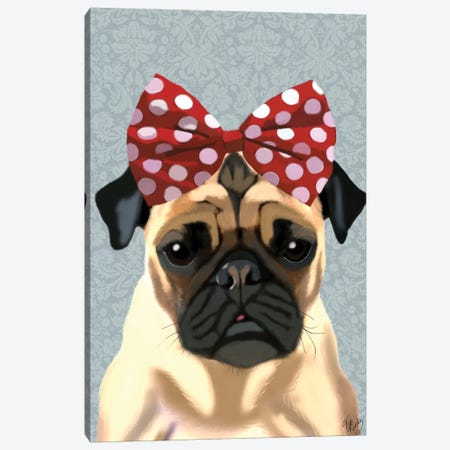 Pug With Red Spotty Bow On Head Canvas Print #FNK1229} by Fab Funky Art Print