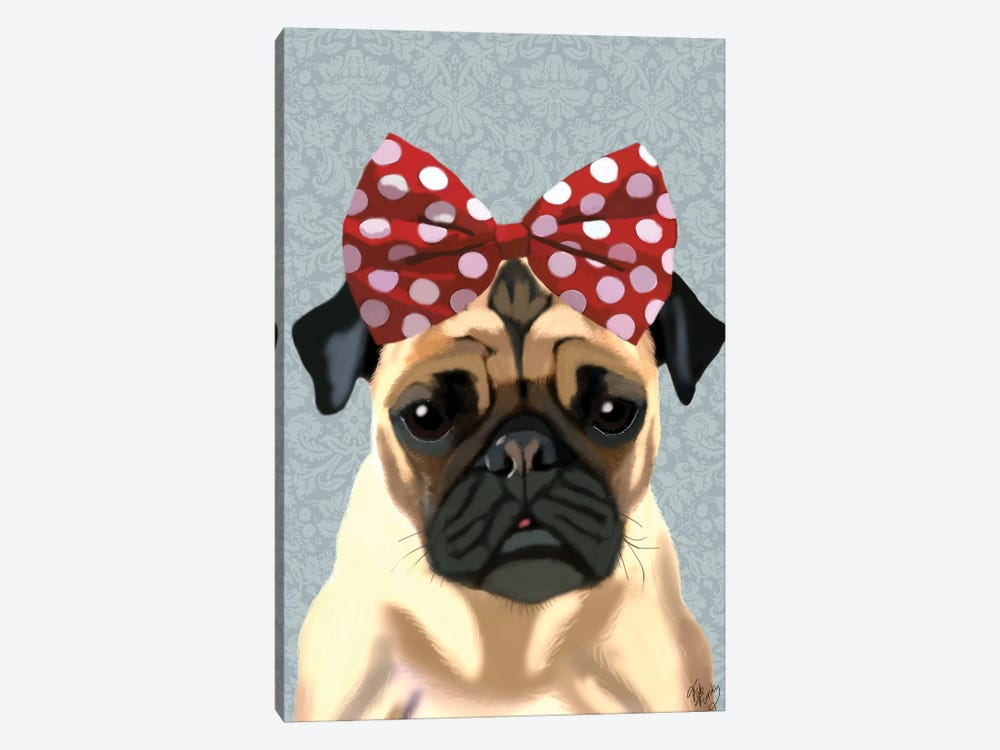 Pug With Red Spotty Bow On Head by Fab Funky 1-piece Canvas Print