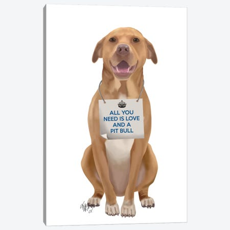 Pit Bull Canvas Print #FNK122} by Fab Funky Canvas Art Print