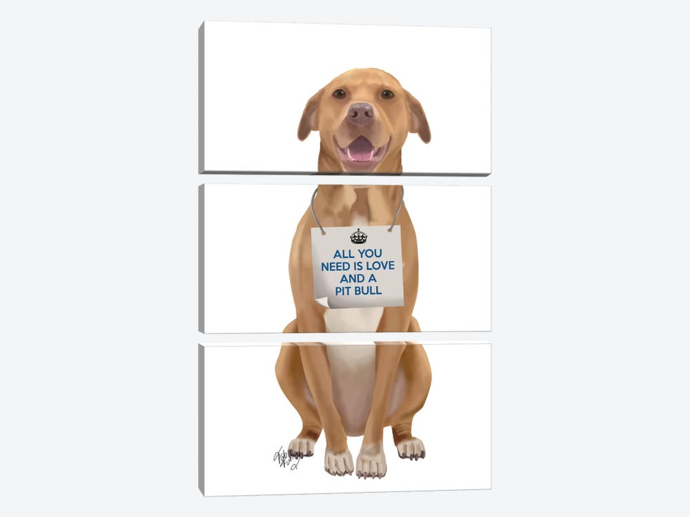Pit Bull by Fab Funky 3-piece Art Print