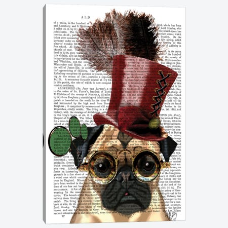 Pug With Steampunk Style Top Hat Canvas Print #FNK1230} by Fab Funky Canvas Wall Art