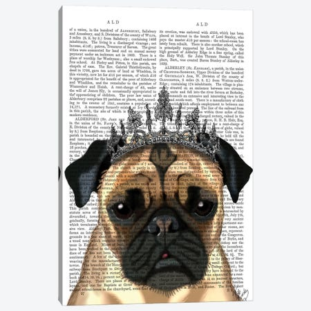 Pug With Tiara Canvas Print #FNK1231} by Fab Funky Canvas Wall Art