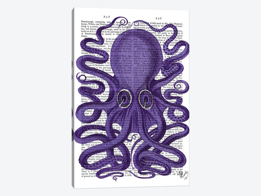 Purple Octopus by Fab Funky 1-piece Canvas Art Print
