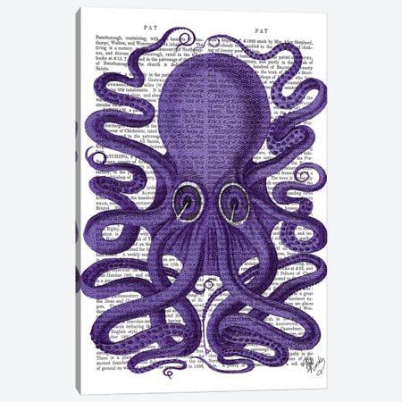 Purple Octopus Canvas Print #FNK1232} by Fab Funky Canvas Wall Art
