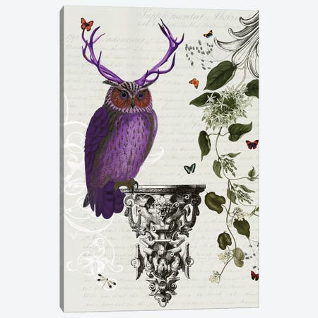Purple Owl With Antlers Canvas Print #FNK1233} by Fab Funky Canvas Art