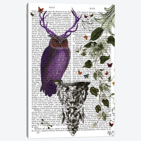 Purple Owl With Antlers, Print BG Canvas Print #FNK1234} by Fab Funky Canvas Print