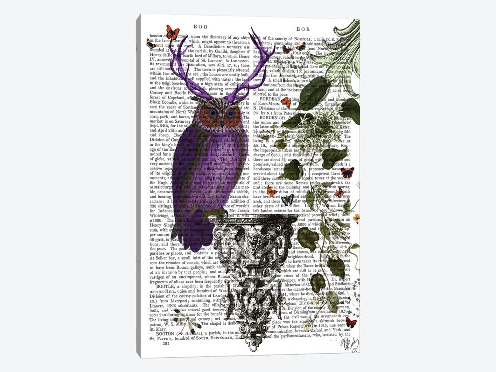 Purple Owl With Antlers, Print BG by Fab Funky 1-piece Art Print