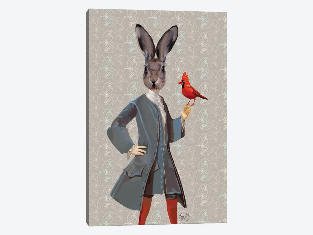 Rabbit & Bird by Fab Funky 1-piece Canvas Art