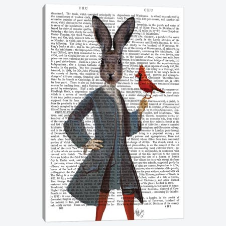 Rabbit & Bird, Print BG Canvas Print #FNK1236} by Fab Funky Art Print