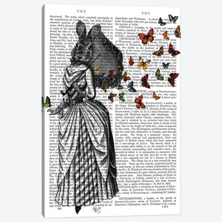 Rabbit & Butterfly Parasol Canvas Print #FNK1237} by Fab Funky Canvas Art Print