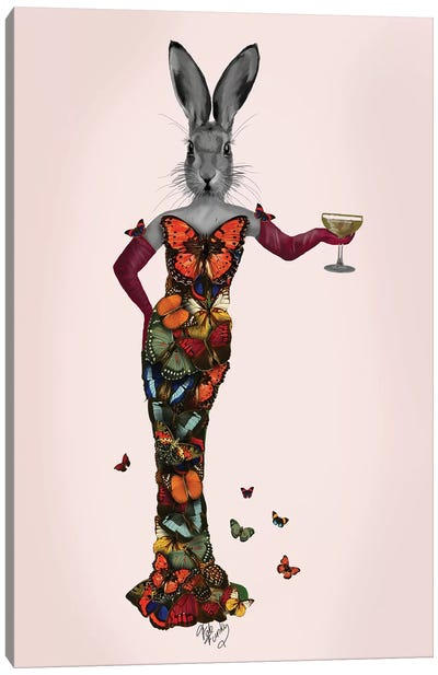 Rabbit Butterfly Dress Canvas Art Print