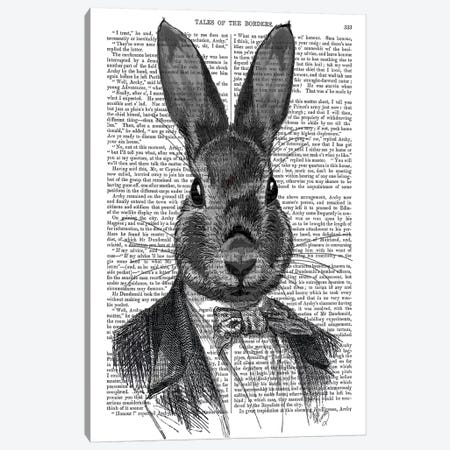 Rabbit In Suit Portrait Canvas Print #FNK1243} by Fab Funky Canvas Print