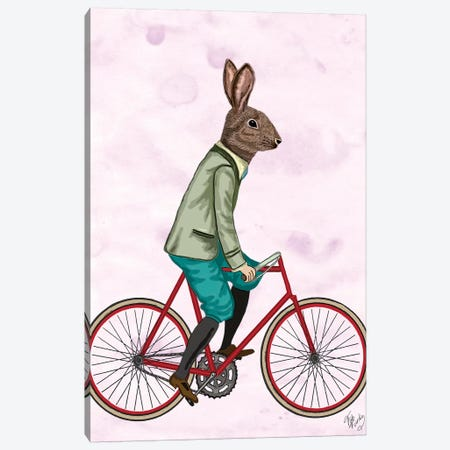 Rabbit On Bike Canvas Print #FNK1244} by Fab Funky Canvas Art