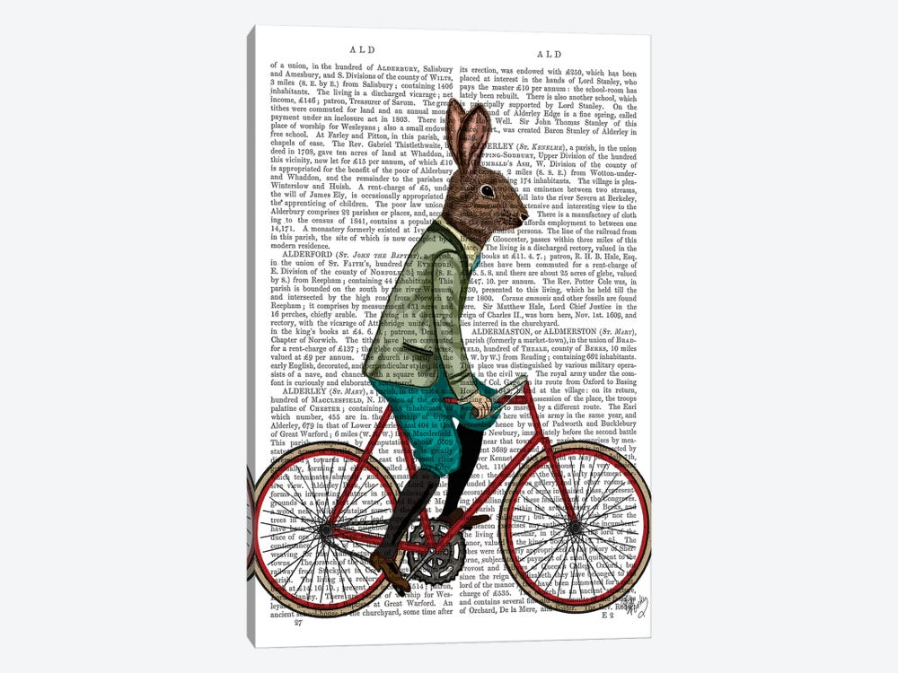 Rabbit On Bike, Print BG by Fab Funky 1-piece Art Print